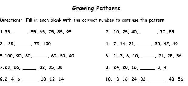 Number Names Worksheets patterns math worksheets Free – Math Worksheets Patterns and Sequences